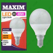 12x 6W (=40W) Pearl G45 Golf Ball LED Light Bulb, Round E14 SES Warm White Lamp