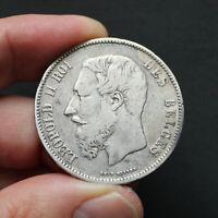 Pièce Argent 5 Francs Belgique Léopold II 1868 Silver Coin Belgium