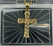 14K Yellow Gold Cross Pendant / Chain Necklace 4g