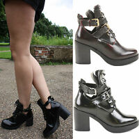 WOMENS LADIES CHUNKY HEEL GOLD BUCKLE CHELSEA ANKLE CUT OUT BOOTS SHOES SIZE