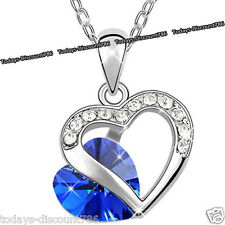 NEW Royal Blue Crystal Heart Necklace Love Wife Women Xmas Present Gifts For Her