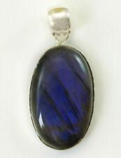 AAA Labradorite Pendant 2 Sterling Silver Oval Bezel Setting Blue Flash