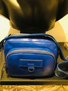 Hugo Boss Shoulder Bag/Messenger Bag 100% Leather Blue Genuine