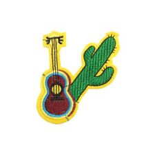 Guitar Cactus (Iron On) Embroidery Applique Patch Sew Iron Badge