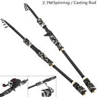 2.7m Carbon Fiber Lure Fishing Rods Spinning Casting Lure Pole Tackle Travel