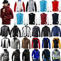 Men Padded Bomber Jacket Sweater Hoodie Baseball Coat Jumper Sweatshirt Tops US