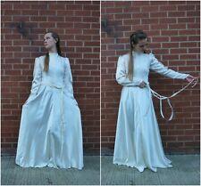 1940s Size M vintage long sleeve parachute silk wedding dress,bias cut,high neck