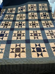 Amish Hand Stitched Ohio Star Block Quilt,Brand New King Size ,Red White Blues