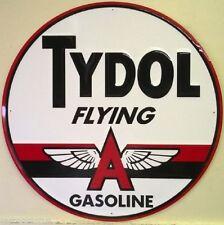 Tydol Flying A Gasoline Die Cut Round TIN SIGN