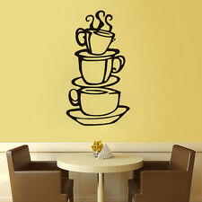 DIY Home Kitchen Decals Removable Vinyl Decor Coffee House Cup Wall Sticker New