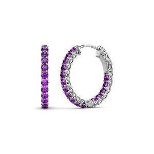 Amethyst Inside-Out Womens Hoop Earrings 0.64 ctw 14K Gold JP:137827