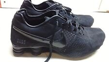 Nike Shox Black Faux Leather Athletic Lace Up Sneaker Running Men Shoes 10.5M 44
