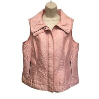 Weekends by Chico's Pink Embroidered Quilted Vest Jacket Size 2 L Large