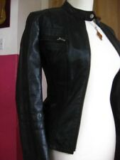 Ladies NEXT Black Leather Biker Style Cafe Racer Jacket coat size UK 8 6