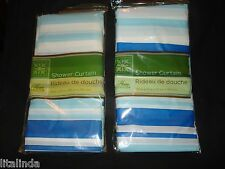 LOT OF TWO shower curtains by home collection 70x72in blue and agua stripeD.NWT