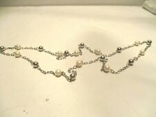 """925 Silver 32"""" Chain Ball and White Pearl Necklace"""