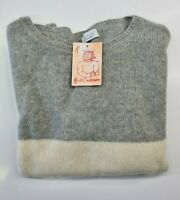 PULL TAILLE L SWEATER FEMME 100% PUR CASHMERE CACHEMIRE BE YOU BLANC GRIS