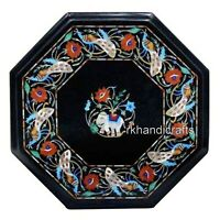 Ancient Craft from India Corner Table Top Black Marble Coffee Table 15 Inches