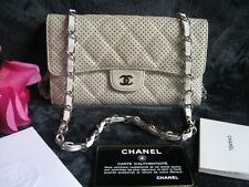 Authentic Chanel White Perforated Lambskin Leather CC Long Flap Bag Clutch