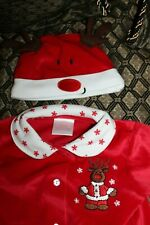 Velvet infant Reindeer outfit Holiday Christmas 3 piece w/hat 6-9 mos. Brand New
