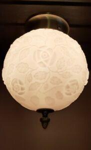 Vtg 3D Rose Design Milk Glass Shade Ceiling Light Fixture Chandelier