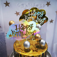 Acrylic Happy Birthday Cake Topper Cupcake Stand Party Props Supplies Decoration