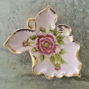 Vintage Porcelain Leaf Shaped Dish with Pink Flower Gold Trim Japan 1950s Floral