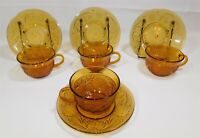 Indiana Glass Amber Daisy Tiara Sandwich Glass 4 Coffee Cups and Saucers Sets
