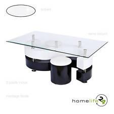 Table basse moderne avec 2 poufs noir et blanc verre sécurit