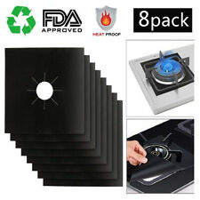8x Reusable Square Gas Range Stove Top Burner Protector Liner Cover For Cleaning