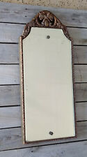 Vintage Art Deco Floral Etched Beveled Gold Leafy Gesso Wall Mirror