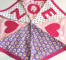 PERSONALISED FABRIC BUNTING New Baby Girl Boy Gift Purple & Pink