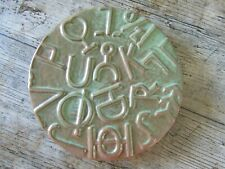 More details for frankoma pottery usa 94trc ceramic 16cm trivet cattlebrands rancher symbols