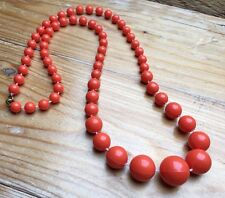 Kitsch Vintage Orange Bead Necklace/Graduated Look/Pretty/Retro/1970/80's