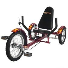 "Mobo Triton 16"" 3 wheels Cruiser Recumbent Trike Tricycle Cruiser Red (Youth)"