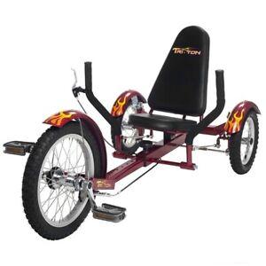 "Mobo Triton 16"" 3 wheels Cruiser Recumbent Trike Tricycle Cruiser Red (Youth)"