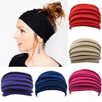 Women Wide Stretch Yoga Headband Turban Elastic Cotton Hair Band Head Wrap New