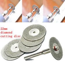 new 5 PCS 22mm Emery Diamond cutting blades Drill Bit+1 Mandrel