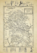 Staffordshire County Map by Hermon Moll 1724 - Reproduction
