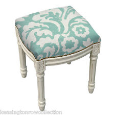 STOOL - KENSINGTON GARDENS UPHOLSTERED STOOL - VANITY SEAT - AQUA BLUE CUSHION