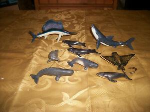 Lot of 9 Safari Ltd. Hard Rubber / Plastic Sea Creature Animal Play Set