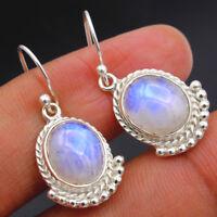 Natural RAINBOW MOONSTONE 925 Sterling Silver Jewelry Handmade Dangle Earrings
