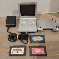 Silver Game Boy Advance SP 001 - with 3 Games - AC Charger - Pelican Holder