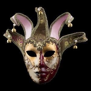 Maske Venedig- Jolly Gesicht Gegenüber Golden Und Rot 5 Punkten Ball- Fasching -