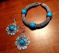 Faux TURQUOISE Floral Earring & Bracelet Set Turquoise SilverTone Boho Shamballa