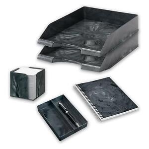 Office Organiser - Home & Office - Letter Tray, Memo Cube, Notebook, Pen Holder