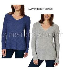 NEW! WOMENS CALVIN KLEIN JEANS V-NECK TEXTURED PULLOVER SWEATER! VARIETY SZ/CLRS