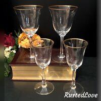 Vintage Lenox Crystal Mansfield Gold Trim Hand Blown USA set 2 Water + 2 Wine