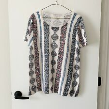 Ann Taylor LOFT Short Sleeve Sweater Blouse Top Women's L Large Career Crew Neck