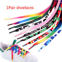 1 Pair 120cm Multi-color Printed Shoelace Colored Shoe Laces Shoestrings Newly
